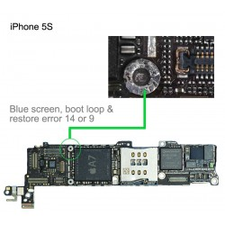 Blue screen, iPhone 5S, boot loop & restore error 14 or error 9 repair service