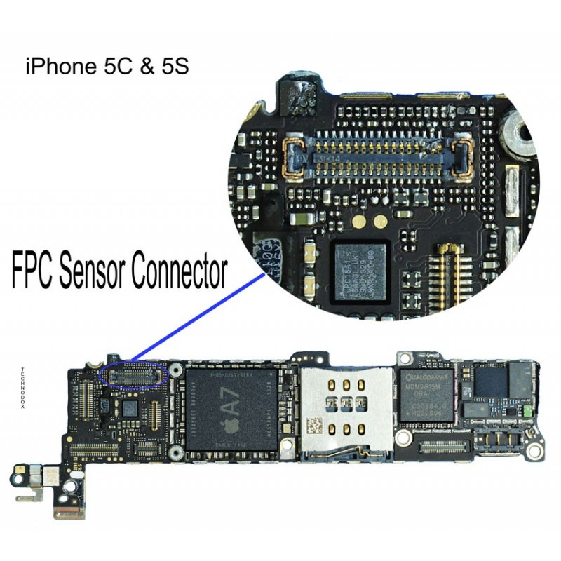 fpc sensor/front camera connector iphone 5s repair service - itechfixit