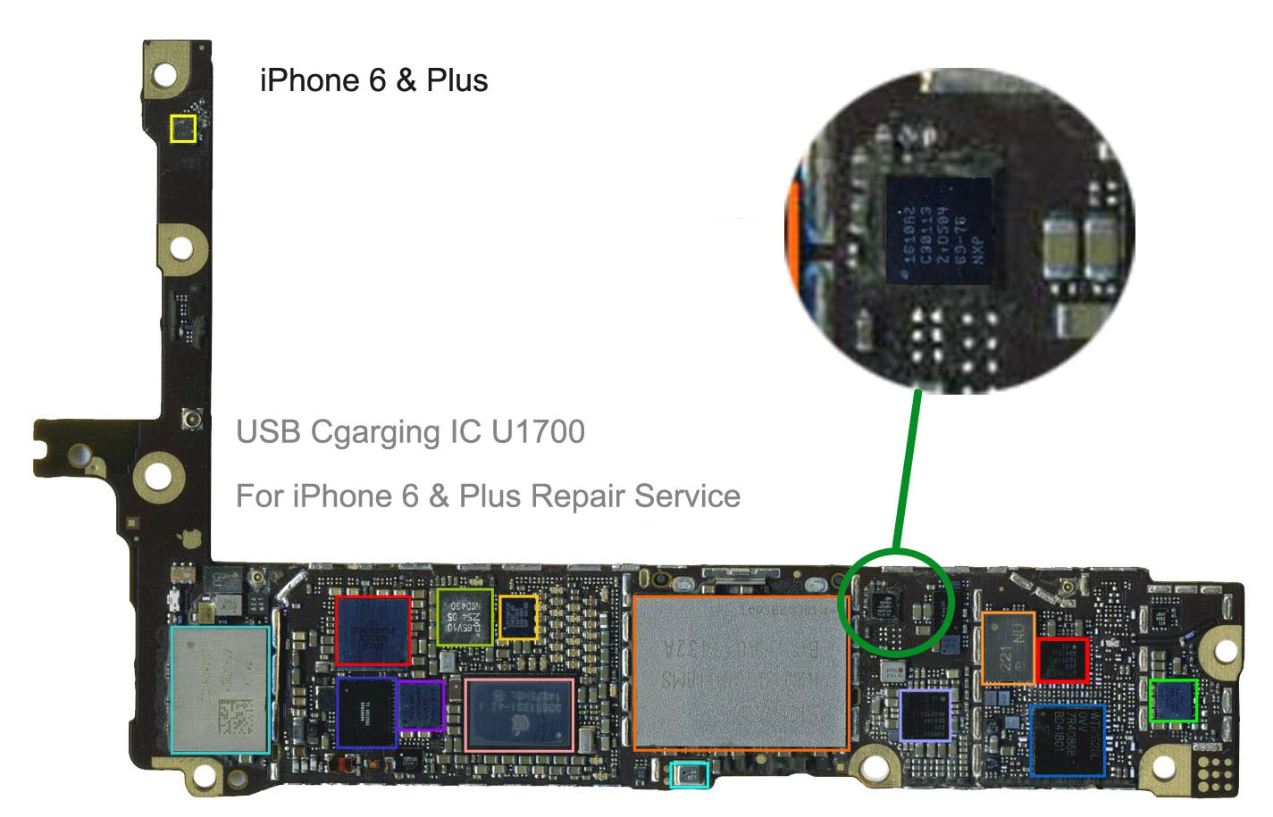 USB charging ic U2 1610A2 for iphone 6 & + Plus repair service - iTechFixit