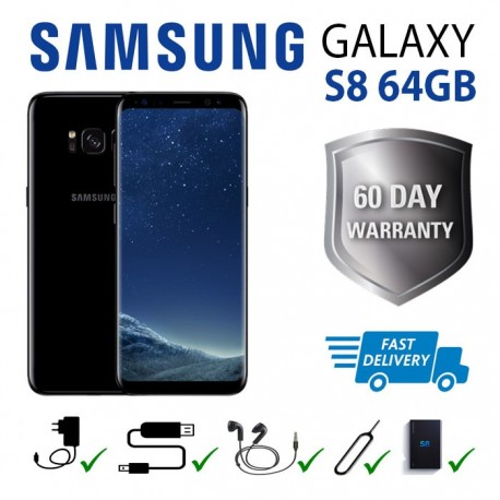 Samsung S8 64GB (Smartphone) All Black Unlocked Any network. Any country