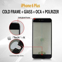 iPhone 6 Plus, 4 in 1 Cold Press Frame + Glass + Pre Applied OCA, Polarizer