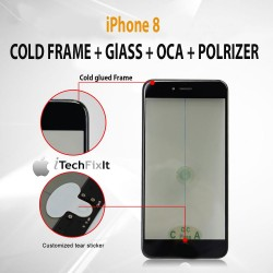 iPhone 8, 4 in 1 Cold Press Frame + Glass + Pre Applied OCA, Polarizer